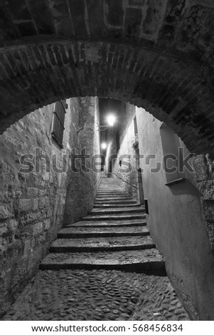 Girona (Gerona, Catalunya, Spain): old typical street by night. Black and white