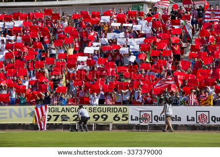 GIRONA, SPAIN - JUNE 7: Girona supporters at the Spanish Second Division League match between Girona FC and CD Lugo, final score 1 - 1, on June 7, 2015, in Girona, Spain. - stock photo