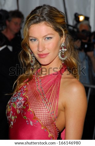 Gisele Bundchen, in Dior Haute Couture by John Galliano, at AngloMania Tradition and Transgression in British Fashion Opening Gala, The Metropolitan Museum of Art, New York, May 01, 2006 - stock photo