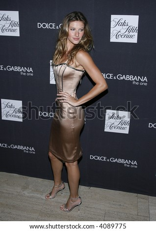 Gisele Bundchen pictured during Dolce & Gabbana's newest fragrance launch 'The One' at Saks Fifth Avenue, New York, New York, July 16, 2007.