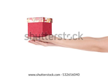Give a present,gift box in hand girls