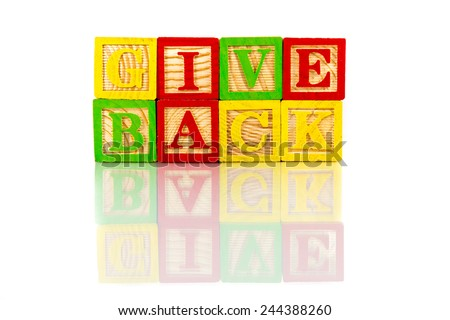 give back words reflection on white background