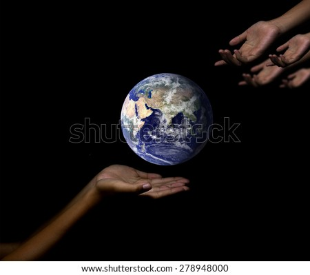 give me to help the earth, world concept - stock photo