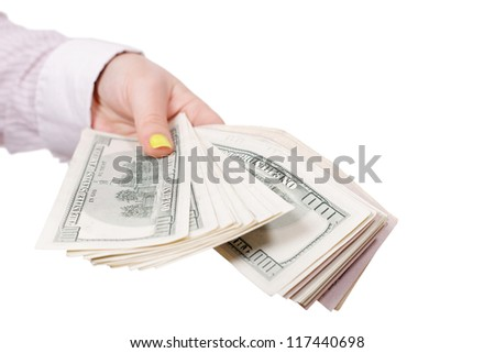 give money to an isolated white background - stock photo