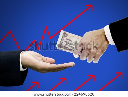 Give money to brokers, Investment concept - stock photo