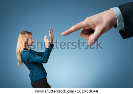 Give notice, to fire, be dismissed, get sacked, bossing, mobbing and bullying on workplace concepts.  - stock photo