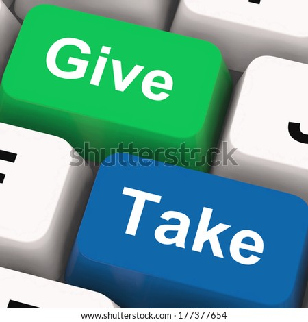 Give Take Keys Showing Generous And Selfish