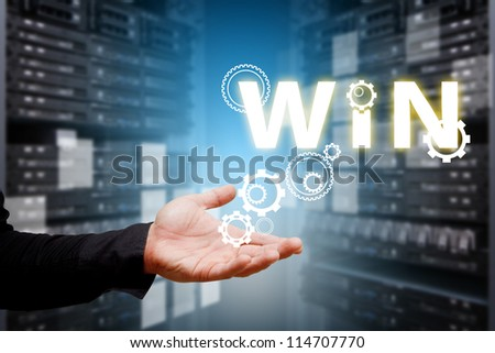 Give the gear for win in data center room - stock photo