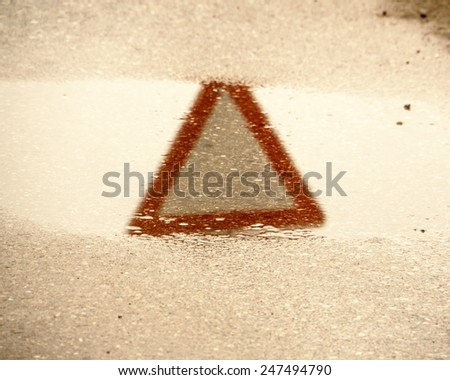 give way road sign, yield sign - stock photo