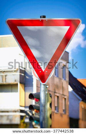 Give way traffic sign, yield. - stock photo