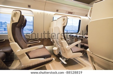 Given the comfortable seats of the train - stock photo