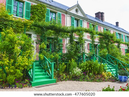 GIVERNY,FRANCE-JUNE 2016: Artist's house in Claude Monet's estate