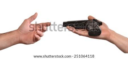 Giving a gun,surrender concept.Peace concept. - stock photo