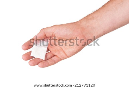 Giving drugs in a plastic bag, isolated on white - stock photo