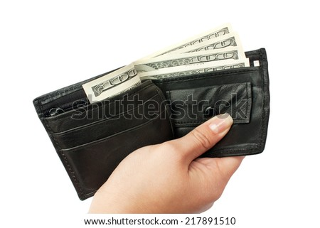 giving hand a purse with a money on a white backround isolated