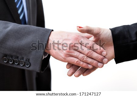 Giving hand for exchange greetings, isolated background