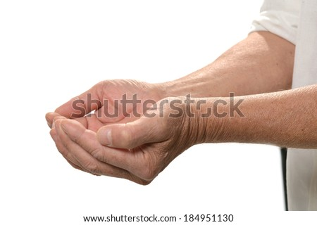 Giving hands closeup isolated on white background - stock photo