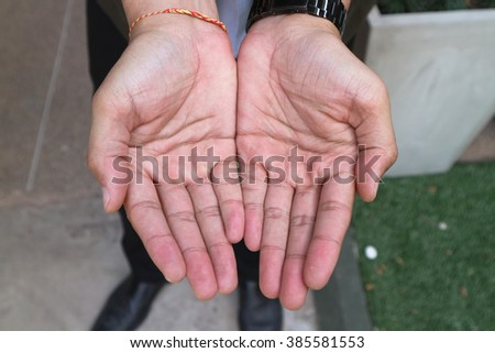 Giving hands isolated on white background