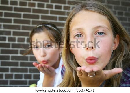 Giving kiss - stock photo