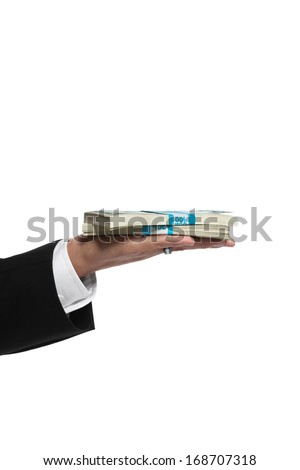 Giving or receiving money, business operations - stock photo