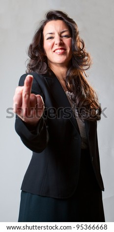 Giving the finger to you. - stock photo