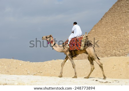GIZA, EGYPT - NOV 23, 2014: Unidentified Egyptian man rides camel at Giza Necropolis, Egypt. UNESCO World Heritage - stock photo