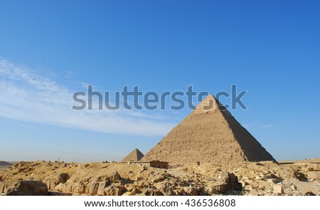 Giza pyramid with blue sky background