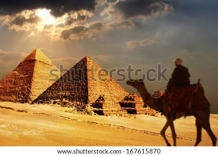 giza pyramids, cairo, egypt  - stock photo