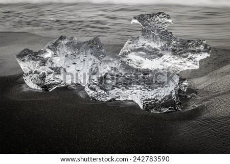Glacial ice at Jokulsarlon, Iceland - stock photo