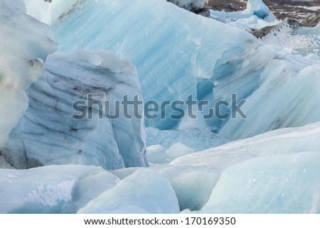glacial ice in Jokulsarlon Lagoon - stock photo