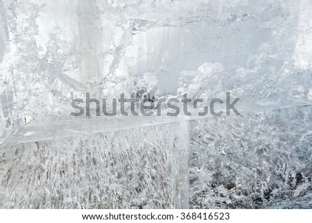 Glacial transparent wall of ice with interesting drawings and patterns . Closeup, background.