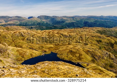 Glaciated mountain landscape in Langdale. - stock photo