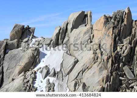 glacier and summit at Mont Blanc massif, France - stock photo