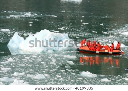 Glacier Bay Fjord - the icy waters of Alaska, USA - stock photo
