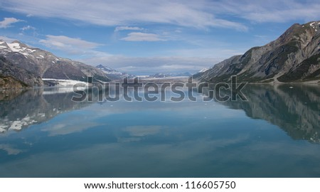 Glacier Bay National Park Panorama of glaciers taken from a cruise ship - stock photo