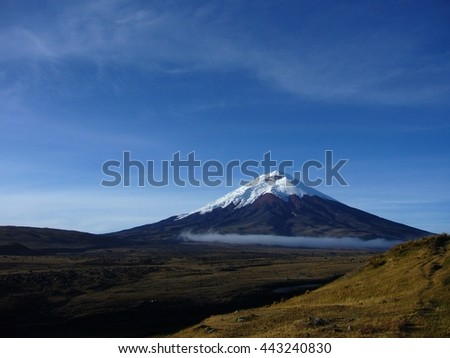 glacier capped volcano Mt. Cotopaxi, Ecuador, early in the morning - stock photo