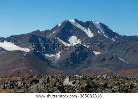 Glacier cirque  form of relief in the mountains - stock photo