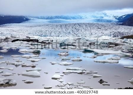 Glacier in south part of Iceland near jokulsarlon - stock photo