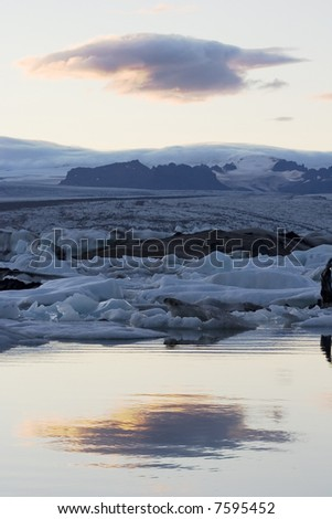 glacier lake on iceland with reflecion of a cloud