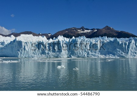 Glacier Moreno in Terra del Fuego Argentina. This is part of Los Glaciares National Park which is a recognized UNESCO World Heritage Site. - stock photo