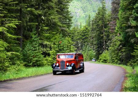 Glacier national park bus tour - stock photo