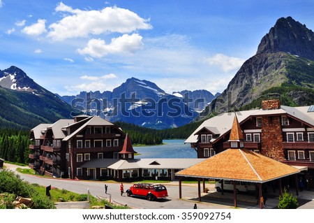 GLACIER NATIONAL PARK, USA - June 24 : The Many Glacier Hotel on June 24, 2015 in Glacier National Park, Montana. It was built in 1915 on the shoreline of Swiftcurrent Lake
