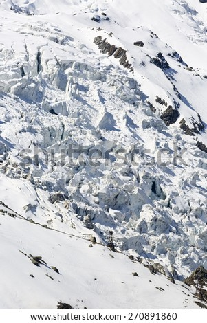Glacier on Plan de l'Aiguille in Chamonix, France - stock photo
