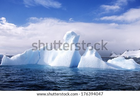 Glaciers and icebergs in Errera Channel at Culberville Island, Antarctica