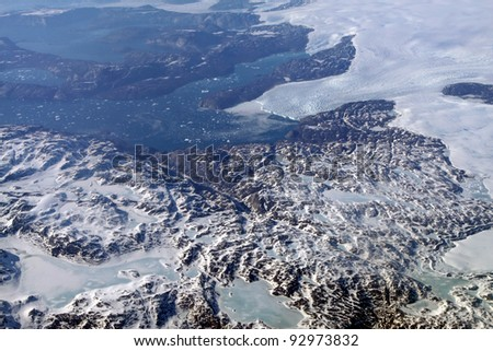 Glaciers in the Southern part of Greenland - stock photo