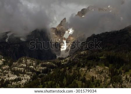 Glaciers on a mountain in Grand Teton National Park - stock photo