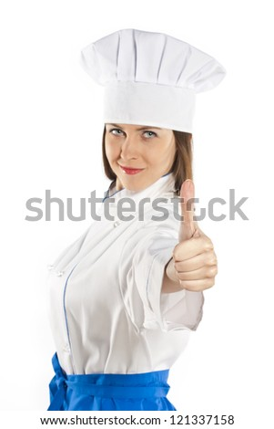 glad chef showing thumbs up and looking at camera. isolated on white background