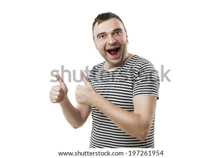 Glad tall guy hands showing thumbs up sign/ White background. Everything is fine. Don't worry be happy - stock photo