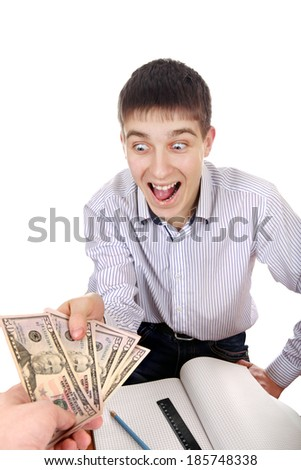 Glad Teenager get a Money Isolated on the White Background - stock photo