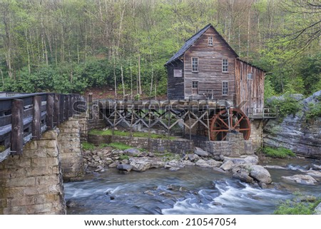 Glade Creek Grist Mill at Babcock State Park in West Virginia - stock photo